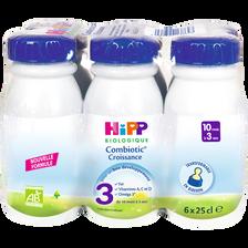 Lait croissance biologique de 10 mois à 3 ans HIPP, bouteille 6x25cl