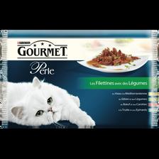 Aliment pour chat adulte au boeuf,truite, veau et gibier GOURMET Perlesachets repas 4x85g