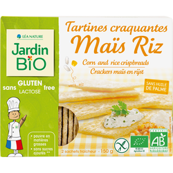 Tartines craquantes maïs et riz sans gluten JARDIN BIO, 150g