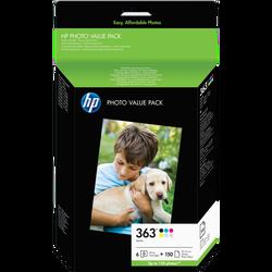 Pack 6 cartouches d'encre HP pour imprimante, Q7966EE n°363 + 150 feuilles sous blister