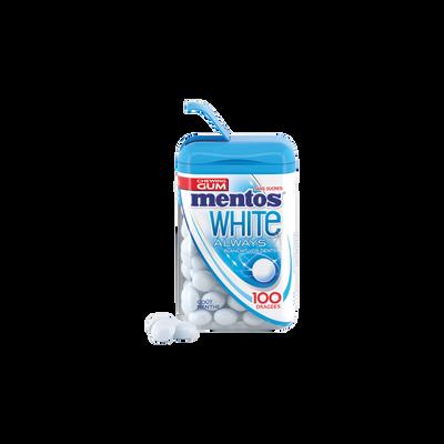 Chewing-gum sans sucre white goût menthe MENTOS, boîte de 100 dragées,106g