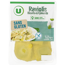 Raviolis ricotta épinards Sans gluten U, 200g