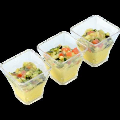Verrines de tartare de courgettes et poulet au curry, 6 unités de 45g