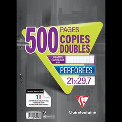 Copie double perforée CLAIREFONTAINE 21x29,7cm, SEYES, blanche, 500 pages