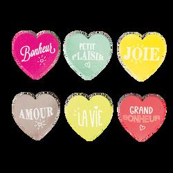Magnet en forme de coeur, coloris assortis, pack de 6