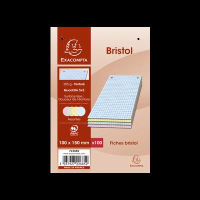 Fiches perforées Bristol EXACOMPTA, 10X15cm, 100 unités, coloris assortis