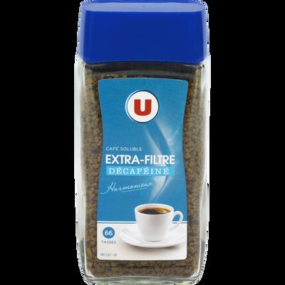 Café lyophilisé extra filtre décaféiné U, bocal de 100g