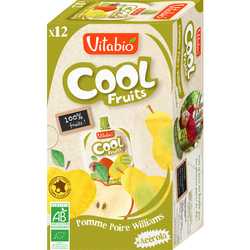 Cool fruits pomme poire williams VITABIO, 12x90g