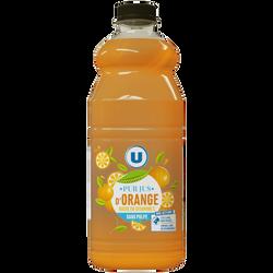 Pur jus d'orange sans pulpe flash pasteurisé, réfrigéré U, 1,5l