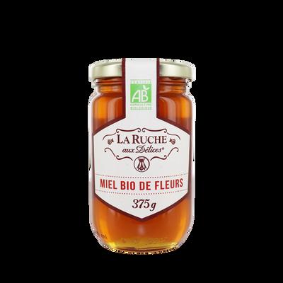Miel de fleurs liquide bio LA RUCHE AUX DELICES, pot en verre de 375g