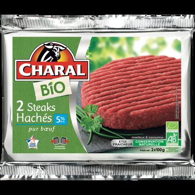 Steak haché, 5% MAT.GR, BIO, CHARAL, France, 2 pièces, Barquette, 200g