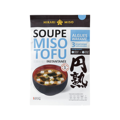 Soupe instantanée miso tofu algues wakame HIKARI MISO, 58g