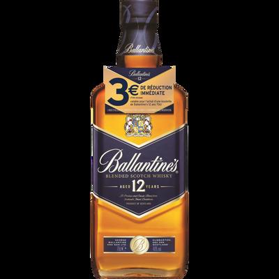 Scotch whisky 12 ans BALLANTINE'S, 40°, bouteille de 70cl + bri 3euros