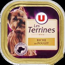 Terrines pour chien riche en poulet U, barquette de 300g