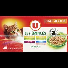 Les émincés pour chat adulte à la volaille et aux carottes au poulet et aux haricotes verts au lapin à la truite et au saumon U, 48 sachetsde 100g
