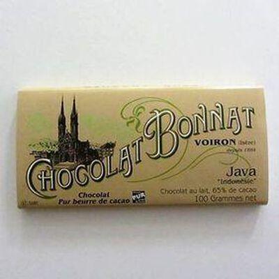 """Chocolat lait au beurre de cacao """"Java Indonésie"""" BONNAT ,100gr"""