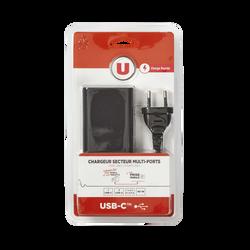 Chargeur secteur multi-ports U, 1 port USB-C + 3 ports USB, noir