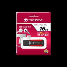 Clé USB TRANSCEND, 16Go, rouge, ergonomique en silicone, résiste aux chocs et waterproof