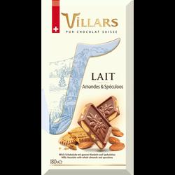Tablette bloc gourmand lait amandes spéculoos VILLARS, 180g
