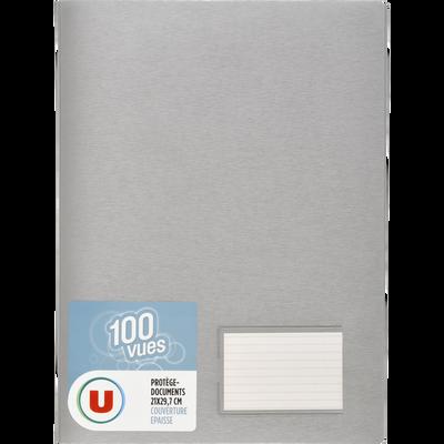 Protège document 100 vues U, format A4, gris