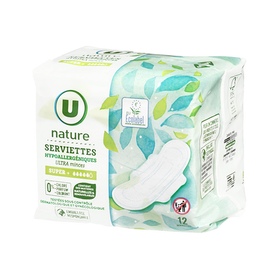 Serviette ultra minces super + U NATURE, x12
