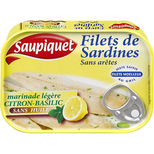 Filets de sardines marinés aux légumes, citron et basilic, SAUPIQUET,100g