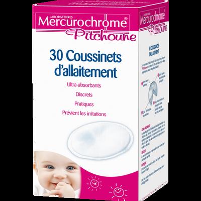 Coussinets d'allaitement ultra absorbants MERCUROCHROME, x30 unités