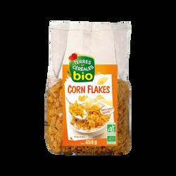 Corn flakes sans sucre bio TERRE ET CEREALES, paquet de 450g