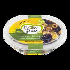 Olives vertes et noires aux herbes, CROC'FRAIS, sans conservateur, barquette 200g