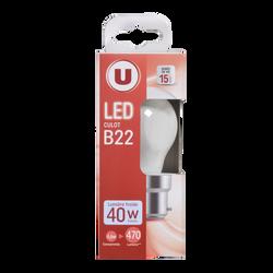 Led U, Mini, ronde, 40w, b22, opaque, lumière froide
