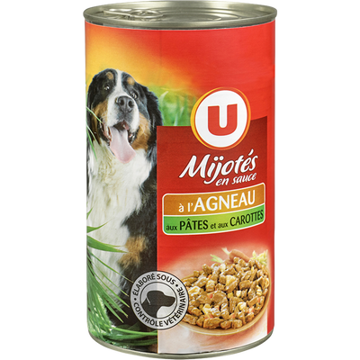 Mijotés sauce pour chien saveur agneau, pâtes et carottes U, boite 3/2soit 1,200kg