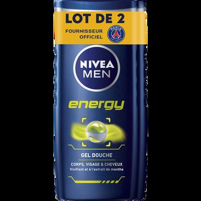 Gel douche pour le corps, le visage et les cheveux energy NIVEA men, 2flacons de 250ml
