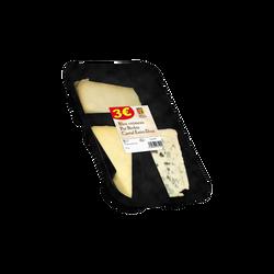 Plateau 3 fromages (60g Petit Cantre Entre Deux lait pasteurisé/60g Bleu crémeux lait pasteurisé/70g Pur brebis lait pasteurisé brebis)190g3 euros