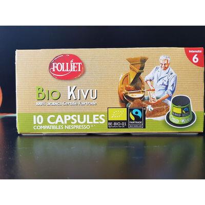 Capsules café bio Kivu 6 compatible nespresso FOLLIET, x10