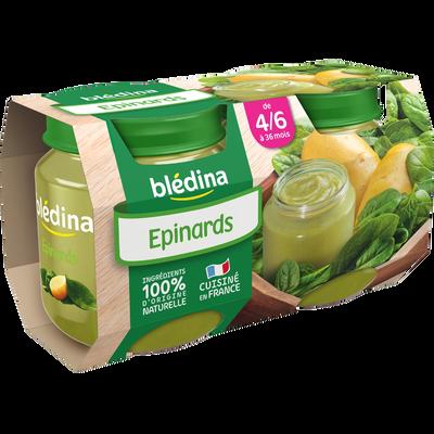 Pot pour bébé épinards BLEDINA, dès 4-6 mois, 2x130g