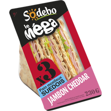 Sandwich Le Méga Club suédois jambon cheddar SODEBO, 230G