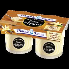 Liégeois gourmand à la vanille coeur caramel beurre salé MAMIE NOVA, 2x120g