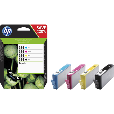Pack 4 cartouches HP N°364 comprenant : 1 cartouche noire,cyan,magentaet yellow