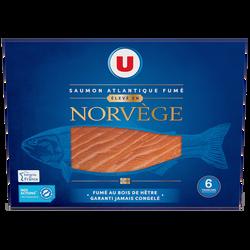 Saumon atlantique fumé Norvège U, 6 tranches soit 225g