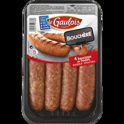 Saucisse de poulet saveur chorizo, LE GAULOIS, France, 4 pièces, Barquette, 320g