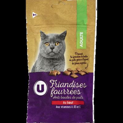 Friandises fourrées pour chat anti boule de poils au boeuf, U, 60g