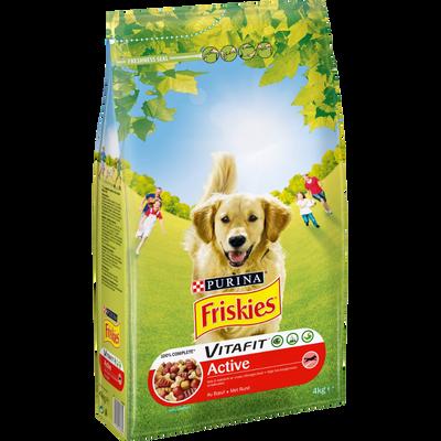 Croquettes pour chien adulte à la viande de  boeuf Vitafit Active FRISKIES, paquet de 4kg