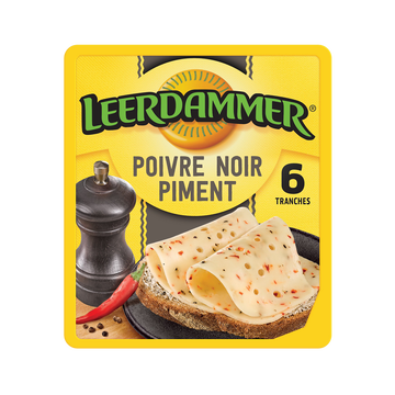 Leerdammer Fromage En Tranches Leerdammer Poivre & Piment 6 Tranches, 120g