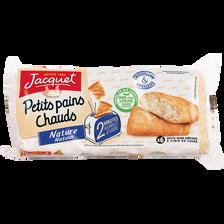 Petits pains chauds nature JACQUET, 6 unités, 390g