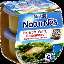 Plat pour bébé haricots verts et dindonneau NATURNES, dès 6 mois, 2x200g