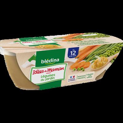 Bols pour bébé légumes du jardin et ciboulette LES IDEES DE MAMAN, dès12 mois, 2x200g