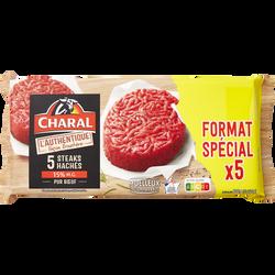 Steak haché authentique, 15% MAT.GR., CHARAL, France, 5 pièces, 600g