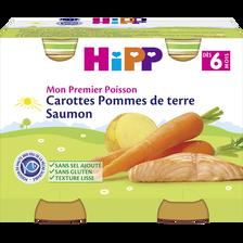 Petit pot bio pour bébé carotte, pomme de terre et saumon HIPP, dès 6mois, 2x190g