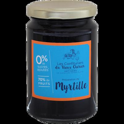 Confiture myrtille sans sucre LES CONFITURIERS, pot 300g