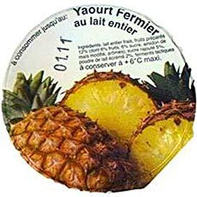 Yaourt fermier au lait entier à l'ananas LA FERME DE CORLY, 180g